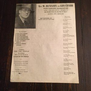 Guy W. Runnion for Governor (flyer) 1940